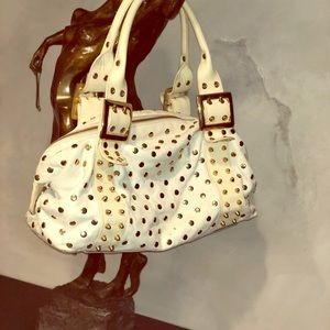 Be&D Garbo Gold Studded White Leather Satchel🌟